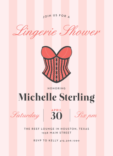 Shower the bride-to-be with gifts for her wedding night with the Lingerie Shower Bachelorette Party Invitations.