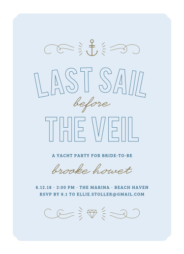 Invite your friends to your yacht party using the Nautical Night Bachelorette Party Invitations.