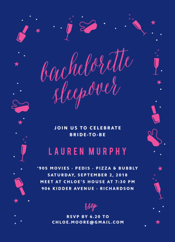 Harken back to the good old days of manicures and girl talk with the Saucy Sleepover Bachelorette Party Invitations.
