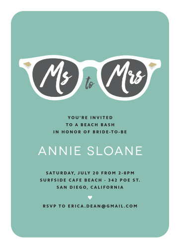 Invite your girl squad to your pre-wedding beach bash with the No Shade Bachelorette Party Invitations.