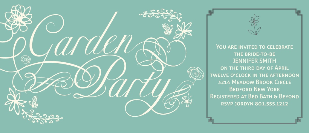 The Party in the Garden invite has a sleek elegant design that fits perfectly with your formal bridal shower.
