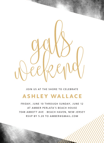 The Gals Weekend Foil Bachelorette Party Invitations are perfect for the modern and trendy bride-to-be