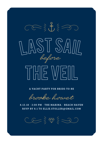 Invite your friends to your yacht party using the Nautical Night Foil Bachelorette Party Invitations.