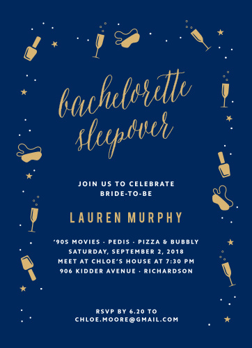 Harken back to the good old days of manicures and girl talk with the Saucy Sleepover Foil Bachelorette Party Invitations.