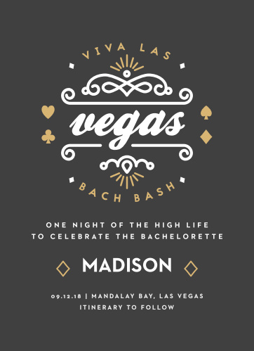 Go all out, Vegas-style with the Viva Las Vegas Foil Bachelorette Party Invitations.