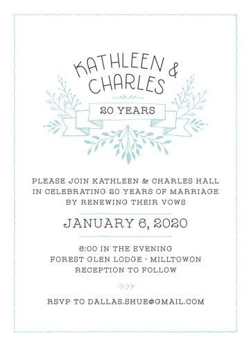 Celebrate your many years of love and adventure with the Floral Banner Anniversary Party Invitations!