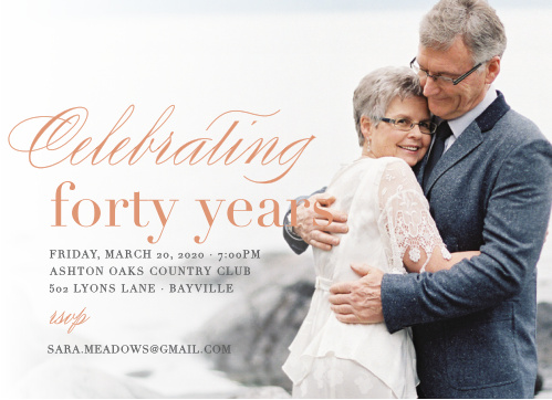Commemorate a lifetime together while surrounded by the people you cherish with the Timeless Love Foil Anniversary Party Invitations!