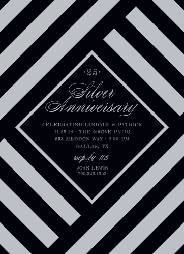 The Silver Stripes Anniversary Party Invitations are modern and bold in design.