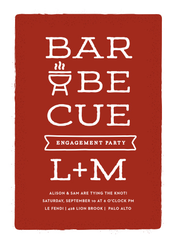 Keep it classic and stylish at the same time with our Bold BBQ Engagement Party Invitations.