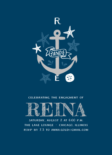 A lovely, illustrated nautical monogram makes up the Anchor Tattoo Engagement Party Invitations.