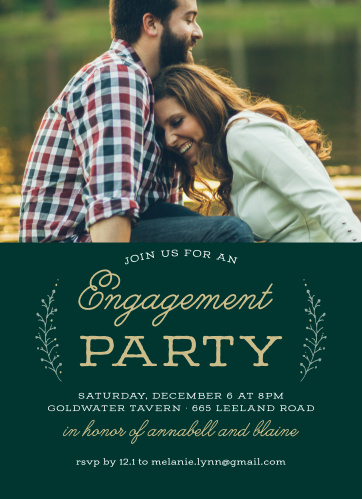 The Rustic Branches Engagement Party Invitations have your gorgeous engagement photo combined with retro, pseudo gold script that is contrasted atop a forest green background.