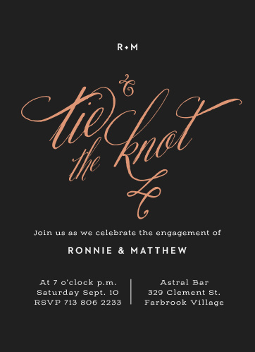 Black Tie Foil Engagement Party Invitations offer the perfect blend of heartfelt joy, modern style, and classic design.
