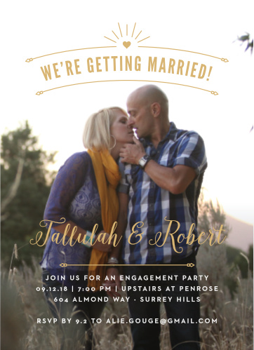 Golden Arc Foil Engagement Party Invitations give you the opportunity to have the party of your dreams.
