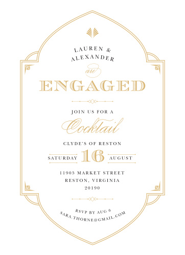Sounds off your engagement with our gorgeous Deco Frame Foil Engagement Party Invitations.