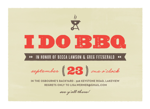 For a grilling-great-time, choose our beautifully classic I Do BBQ Engagement Party Invitations.