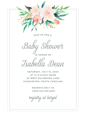Lovely Blossoming Love Baby Shower Invitations