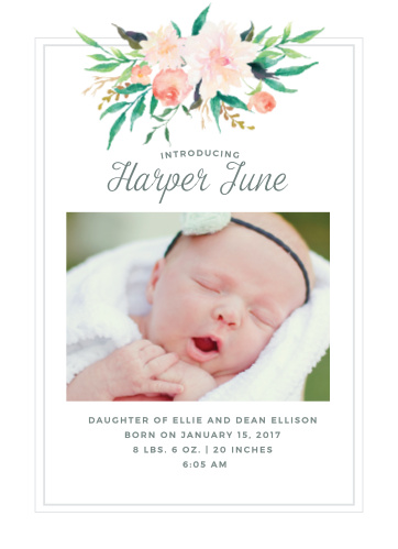 With a bouquet of watercolor flowers atop the page and a photo of your blossom in the center, our Blossoming Love Birth Announcements offer the newest member of your family a warm welcome into the world.
