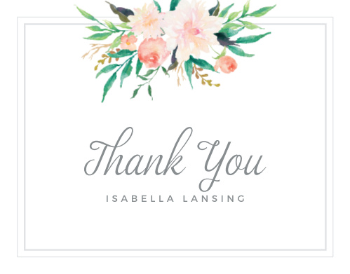 The highlight of our Blossoming Love Baby Shower Thank You Cards is the bouquet of watercolor flowers at the top of the page.
