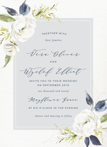 The Oil Paint Textured Wedding Invitations are a vintage marvel, with a canvas background topped with painted blooms and elegant script.