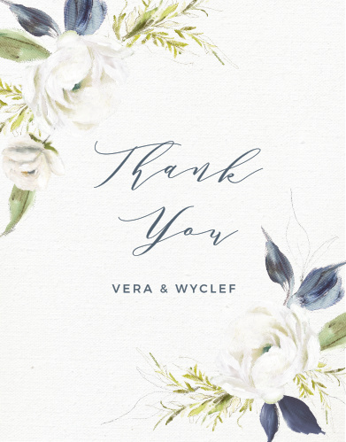 The Oil Paint Textured Wedding Thank You Cards feature a gorgeous display of vintage painted blooms atop a textured canvas background.