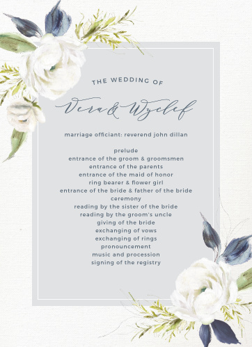 The Oil Paint Textured Wedding Programs are a vintage marvel, with a canvas background topped with painted blooms and elegant script.