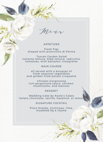 The Oil Paint Textured Wedding Menus are a vintage marvel, with a canvas background topped with painted blooms and elegant script.