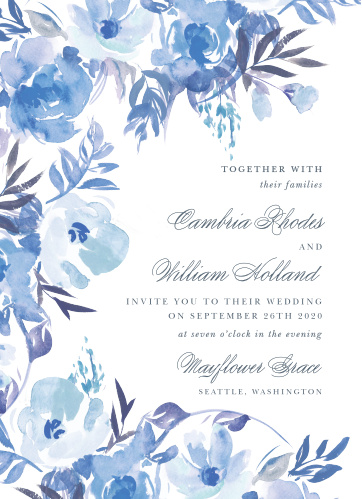 An array of monochromatic, watercolored wildflowers bloom across the Comely Wildflowers Wedding Invitations.