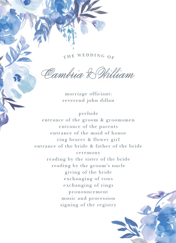 An array of monochromatic, watercolored wildflowers grace the edges of the Comely Wildflowers Wedding Programs.