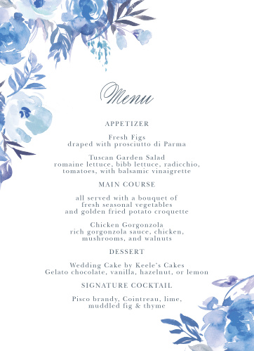 An array of monochromatic, watercolored wildflowers grace the edges of the Comely Wildflowers Wedding Menus.