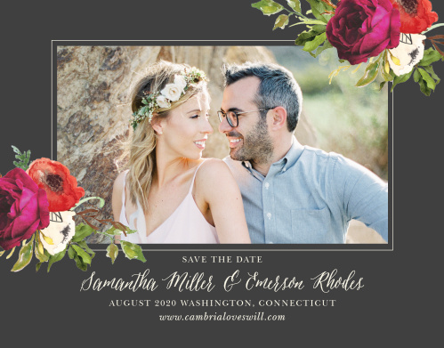Frame your engagement photo with a vivid mix of life-like burgundy roses combined with impressionistic blooms for the Garden Romance Save-the-Date Cards.