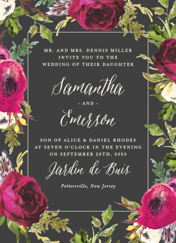 A stormy grey background is contrasted by bright vintage blooms framing the Garden Romance Wedding Invitations.