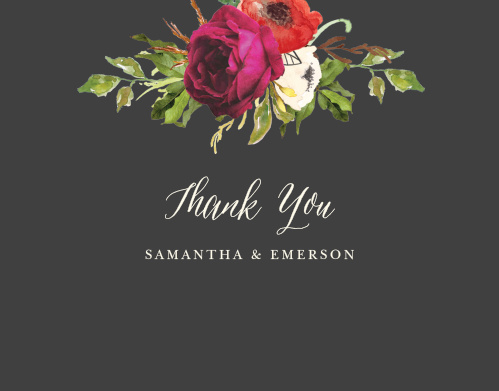 The Garden Romance Thank You Cards feature a stormy grey background that is contrasted by a vivid bouquet and a cream colored calligraphy.