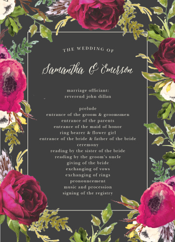 A stormy grey background is contrasted by bright vintage blooms framing the Garden Romance Wedding Programs.