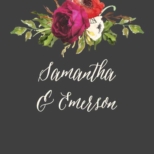 The Garden Romance Wedding Stickers feature a stormy grey background that is contrasted by a vivid bouquet and your names in an elegant cream colored calligraphy.