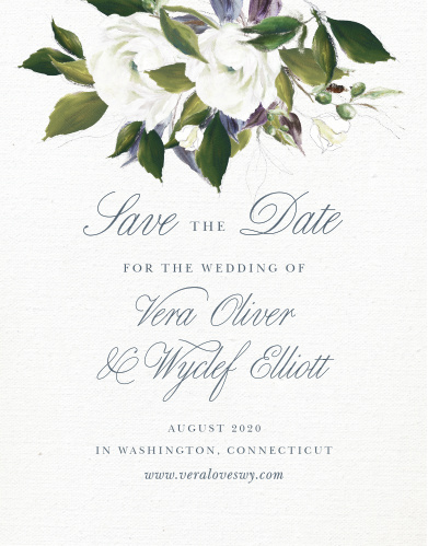 The Elegant Aristocrat Save-the-Date Cards feature a gorgeous display of vintage painted blooms atop a textured canvas background.