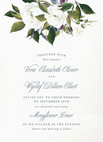 The Elegant Aristocrat Wedding Invitations are a vintage marvel, with a canvas background topped with painted blooms and elegant script.