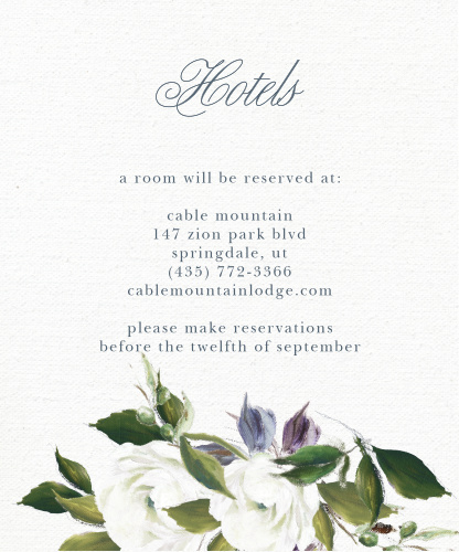 The Elegant Aristocrat Accommodation Cards feature a gorgeous display of vintage painted blooms atop a textured canvas background.