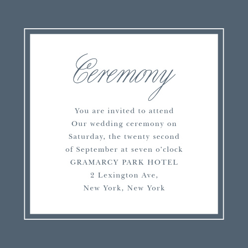 The Elegant Aristocrat Ceremony Cards are simple and refined.