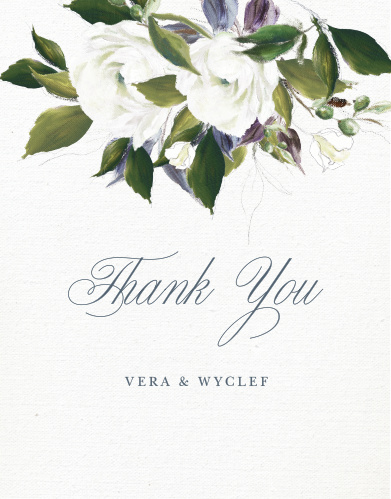The Elegant Aristocrat Wedding Thank You Cards are a vintage marvel, with a canvas background topped with painted blooms and elegant script.
