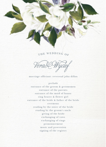 The Elegant Aristocrat Wedding Programs are a vintage marvel, with a canvas background topped with painted blooms and elegant script.