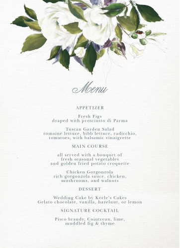 The Elegant Aristocrat Wedding Menus feature a gorgeous display of vintage painted blooms atop a textured canvas background.