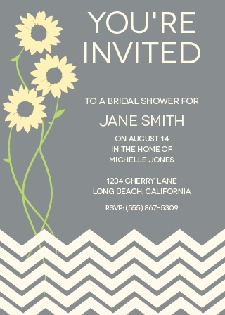 The Sunflower Bridal Shower invitation has a clean modern design. It's fun and fully customizable.