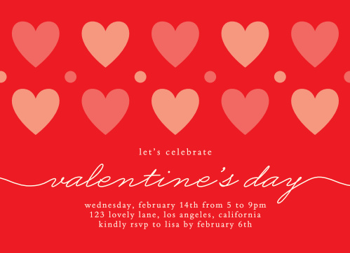 Multicolored hearts and decorative dots dance across the Dots & Hearts Valentine's Day Party Invitations, along with a flowing elegant script and the details for your special V-Day bash!