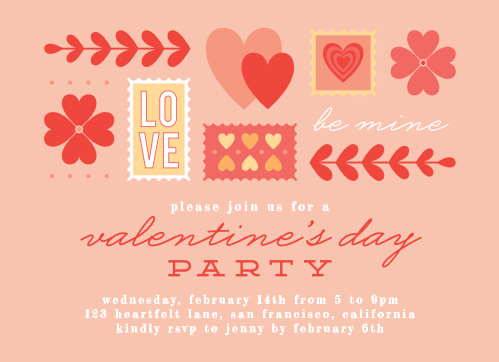 Our Iconic Stamped Valentine's Day Party Invitations focus on the classic colors of the day: soft yellows, light pinks, and vibrant reds.