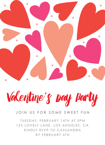 sweet love valentines day party invitations