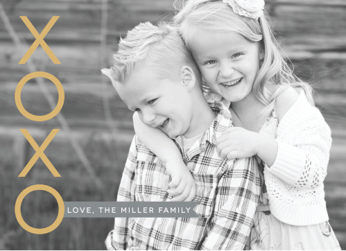 Upload your favorite current photo of your family to create the perfect background for our XOXO Banner Foil Valentine's Day Cards.