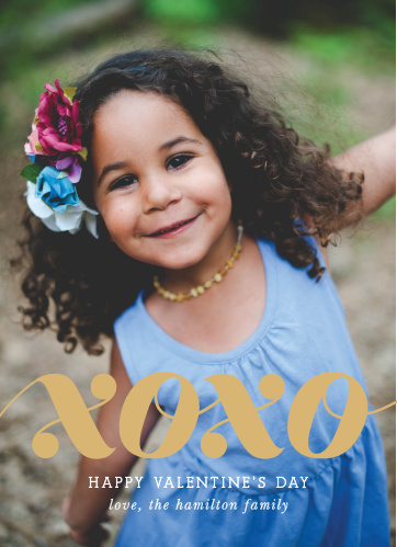 "The Big XO Foil Valentine's Day Cards use your heart warming photo as the background with a big ""XOXO"" scrawled atop it in our notorious raised gold foil."