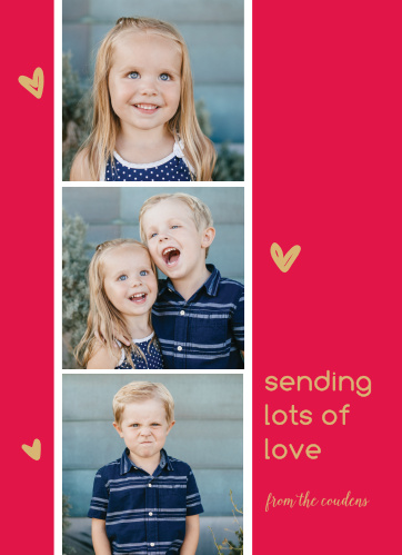 The Photo Booth Foil Valentine's Day Cards feature a photo strip where you can place 3 of your charming photos amidst gold foiled doodled hearts.