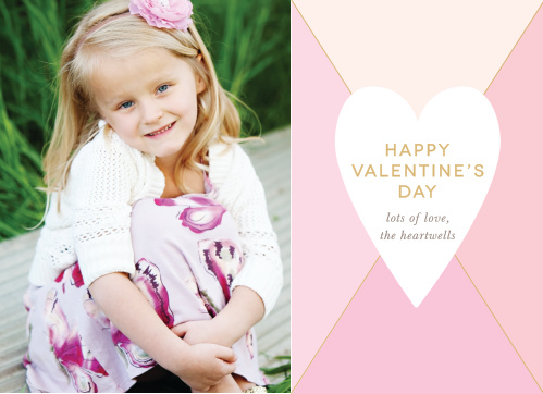 The Prism Heart Foil Valentine's Day Cards have a white heart topped with a gold foiled greeting atop a prism in soft pinks.