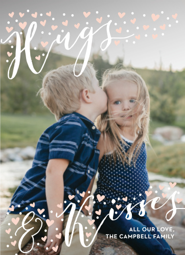 The majority of our Sweet Overlay Valentine's Day Cards focuses on a gorgeous family photo of your choosing.
